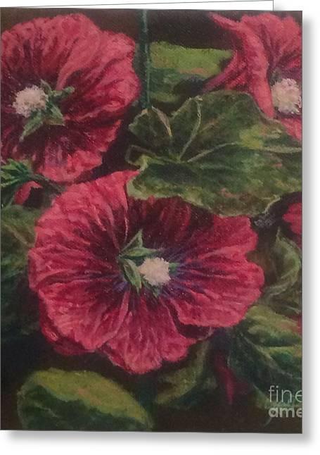 Red Hollyhocks Greeting Card by Gail Allen