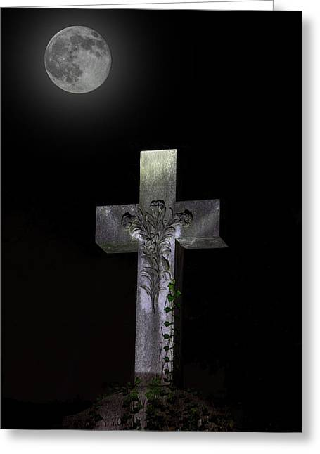 Hollywood Cemetery Full Moon Greeting Card by Jemmy Archer