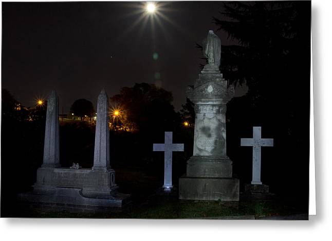 Hollywood Cemetery Moon Burst Greeting Card by Jemmy Archer