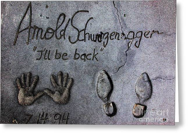 Hollywood Chinese Theatre Arnold Schwarzenegger 5d29031 Greeting Card by Wingsdomain Art and Photography