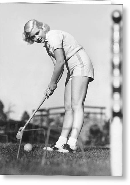 Hollywood Croquet Greeting Card by Underwood Archives