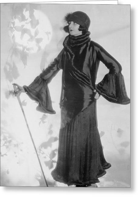 Hollywood Fashion Model Greeting Card by Underwood Archives