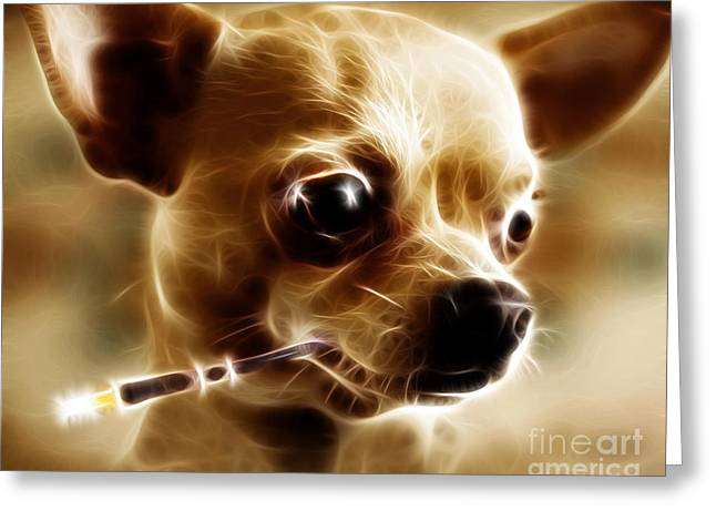 Hollywood Fifi Chika Chihuahua - Electric Art Greeting Card by Wingsdomain Art and Photography