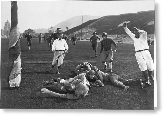 Hollywood Football Touchdown Greeting Card by Underwood Archives
