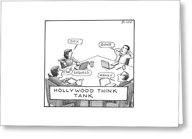 Hollywood Think Tank Greeting Card by Harry Bliss