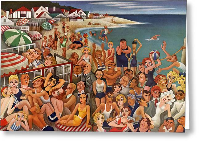 Hollywood's Malibu Beach Scene Greeting Card by Miguel Covarrubias