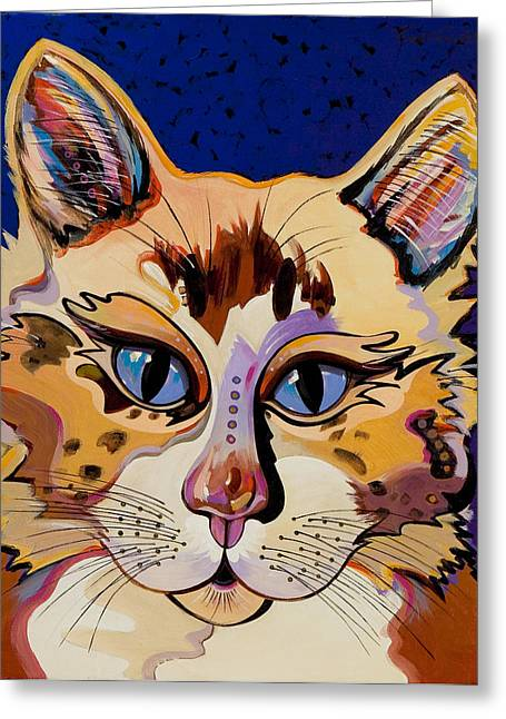 Greeting Card featuring the painting Holy Cat by Bob Coonts