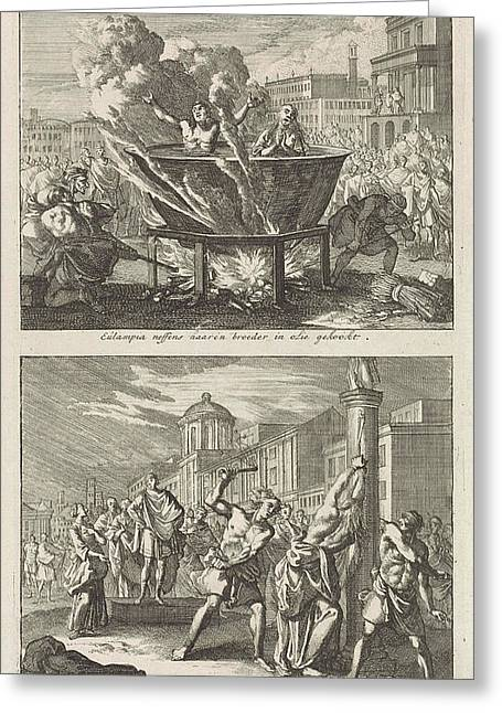 Holy Eulampia And Her Brother Are Boiled Alive In Oil Greeting Card by Jan Luyken And Barent Visscher And Jacobus Van Hardenberg