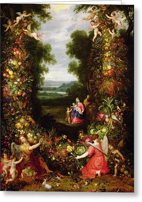 Holy Family In A Landscape With A Garland Of Fruit And Vegetables Panel Greeting Card