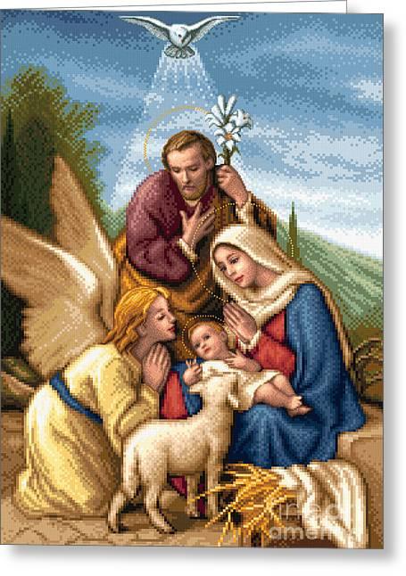 Holy Family Greeting Card by Stoyanka Ivanova