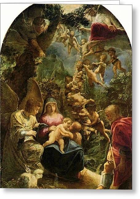 Holy Family With Angels Greeting Card by Adam Elsheimer