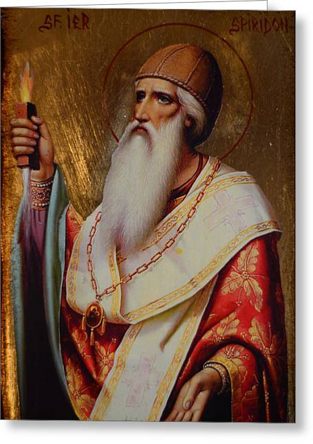 Holy Hierarch St. Spyridon Of Tremithus Greeting Card by Claud Religious Art