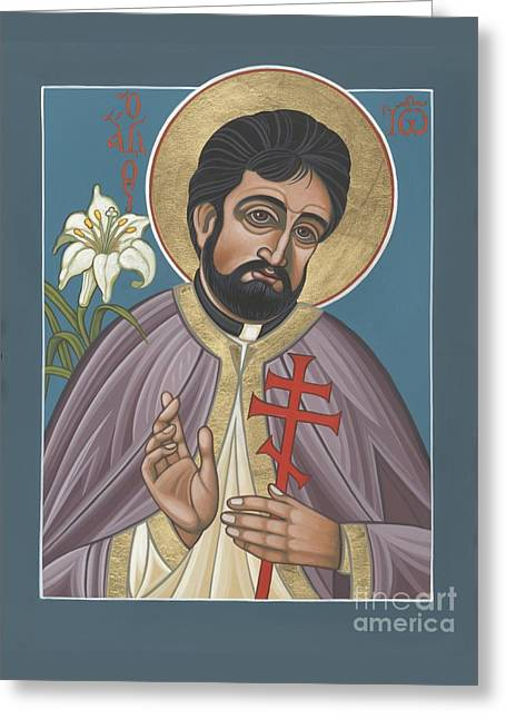Greeting Card featuring the painting Holy New Martyr Father John Karastamatis Of Santa Cruz 216 by William Hart McNichols