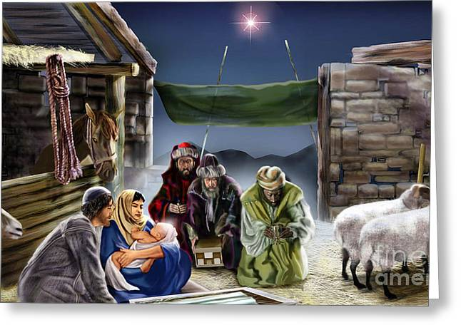 Holy Night Greeting Card by Reggie Duffie