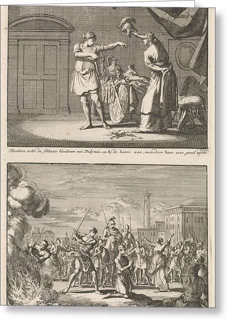 Holy Theodora And Didymus Is Liberated By The Martyrdom Greeting Card by Jan Luyken And Jacobus Van Hardenberg And Barent Visscher
