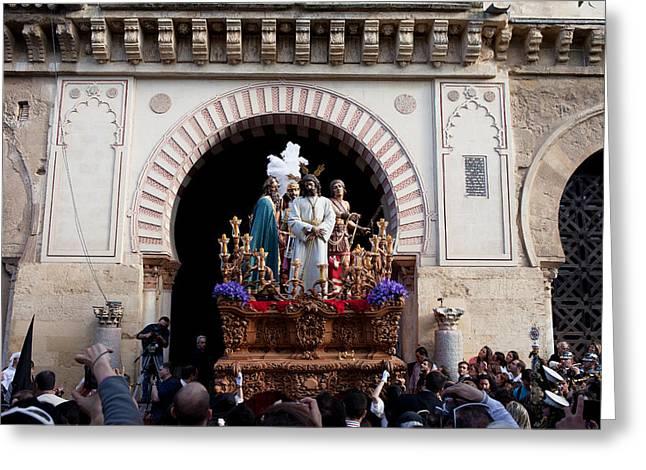 Holy Week Celebration In Cordoba Greeting Card by Artur Bogacki