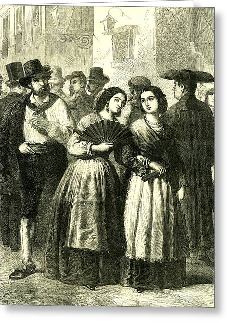 Holy Week Rome Italy 1866 Villagers Assembling Greeting Card by Italian School