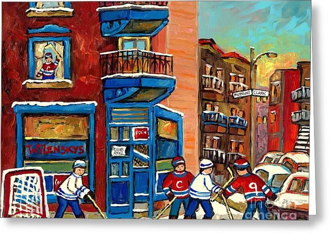 Best Selling Original Montreal Paintings For Sale Hockey At Wilensky's By Carole Spandau Greeting Card by Carole Spandau