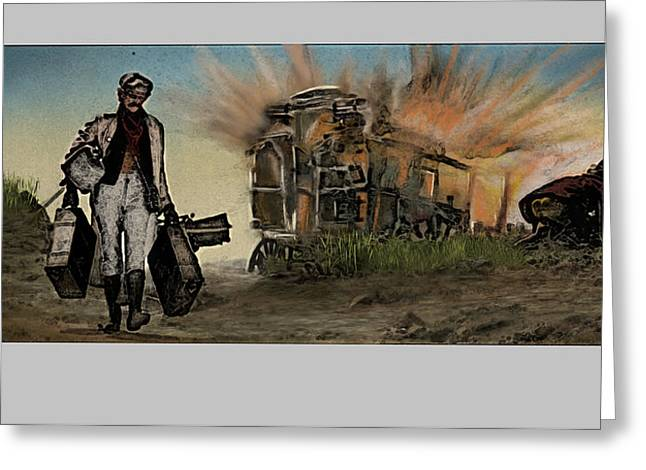 Homage To Duck You Sucker Aka A Fistful Of Dynamite Greeting Card by Aaron McElfish