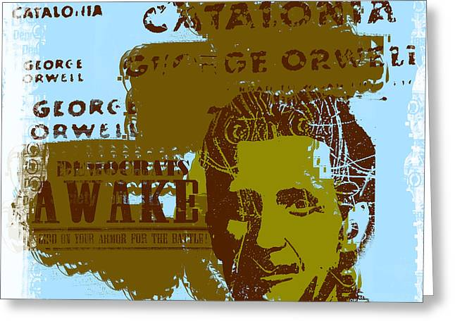 Homage To 'george Orwell' Greeting Card by Jeff Burgess