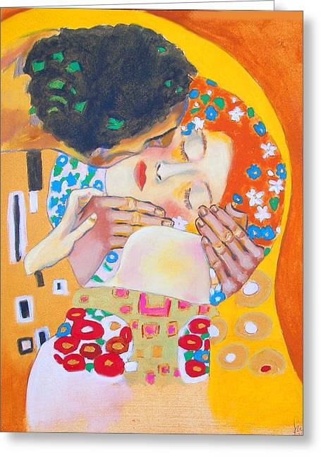 Homage To Master Klimt The Kiss Greeting Card by Susi Franco