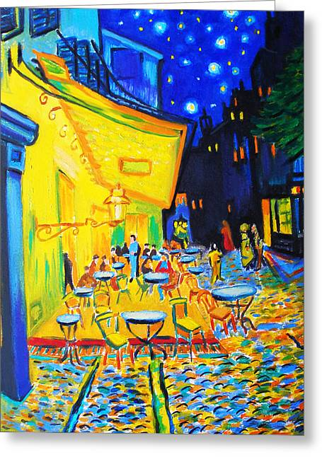Homage To Master Van Gogh's Terrace At Arles Greeting Card by Susi Franco