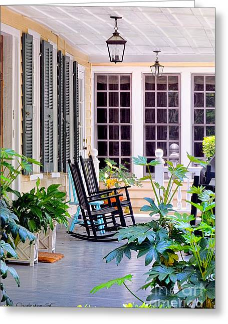 Veranda - Charleston, S C By Travel Photographer David Perry Lawrence Greeting Card
