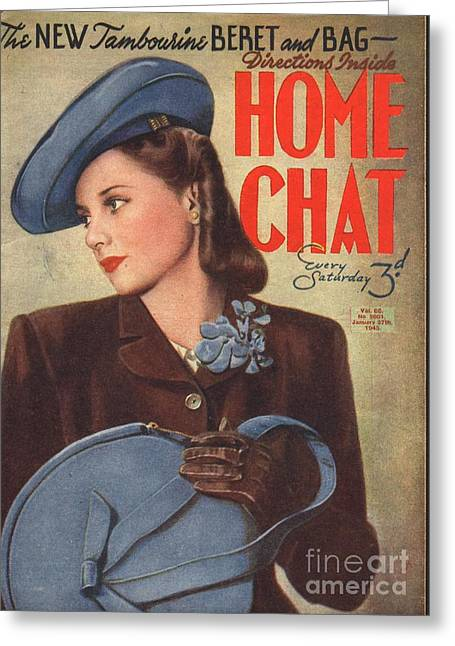 Home Chat 1940s Uk Womens Portraits Greeting Card by The Advertising Archives
