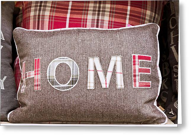 Home Cushion Greeting Card by Tom Gowanlock