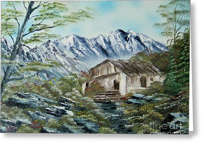 Home In The Mountains Greeting Card by Edward C Van Wicklen Sr