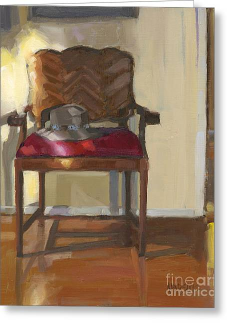 Greeting Card featuring the painting Sold Home Is Where Your Hat Lies by Nancy  Parsons