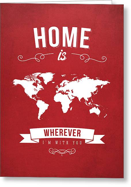 Home - Red Greeting Card by Aged Pixel
