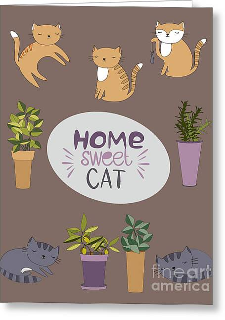 Home Sweet Cat Greeting Card