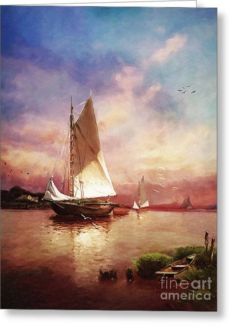 Greeting Card featuring the digital art Home To The Harbor by Lianne Schneider