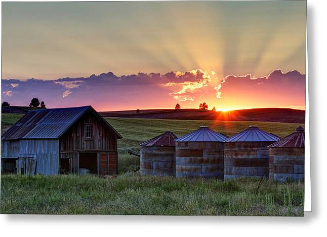 Home Town Sunset Greeting Card by Mark Kiver