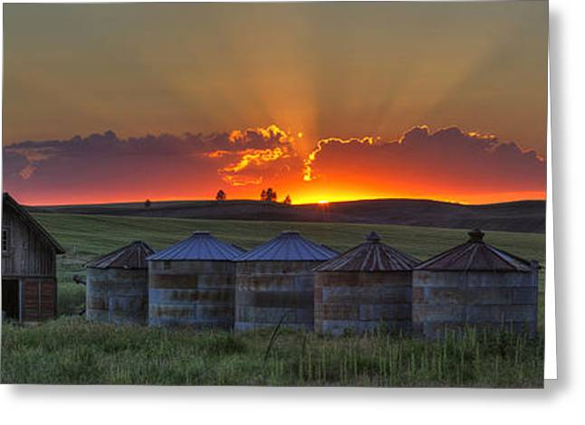 Home Town Sunset Panorama Greeting Card by Mark Kiver