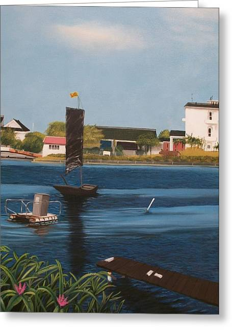 Greeting Card featuring the painting Home Town by Susan Roberts
