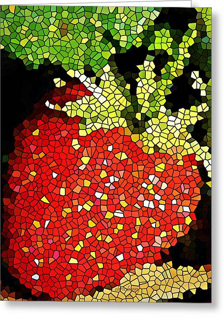 Homegrown Strawberry Mosaic Greeting Card by Chris Berry