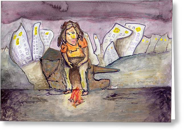 Homeless On The Edge Of The City Greeting Card
