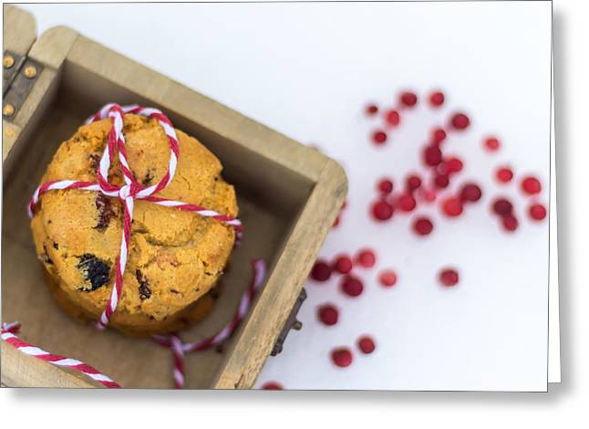 Homemade Cranberry Cookies With Christmas Decoration Greeting Card