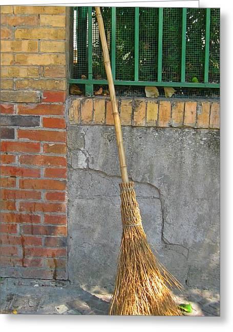 Homemade Straw Broom Greeting Card
