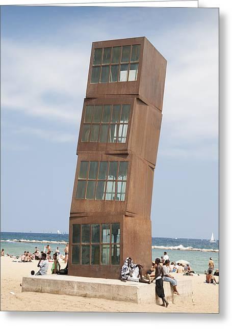 Homenatge A La Barceloneta - Artwork By Rebbeca Horn On A Beach In Barcelona Greeting Card by Matthias Hauser