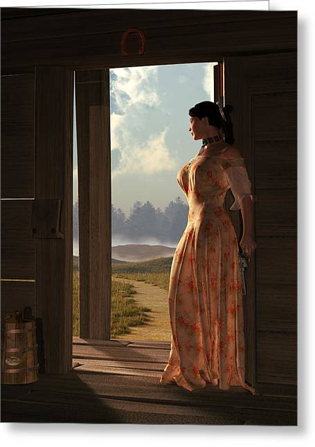 Homestead Woman Greeting Card by Daniel Eskridge