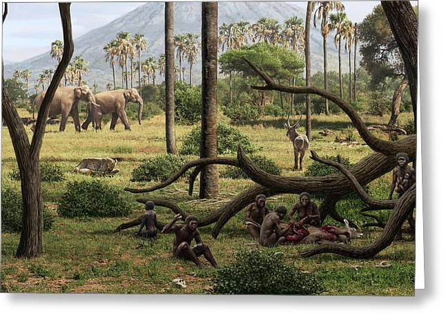 Homo Habilis Hunters Greeting Card by Mauricio Anton