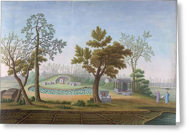 Honam Temple- Garden And Fields Greeting Card by British Library