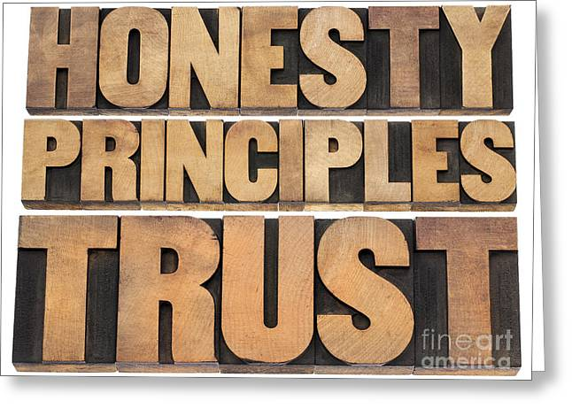Greeting Card featuring the photograph Honesty Principles And Trust by Marek Uliasz