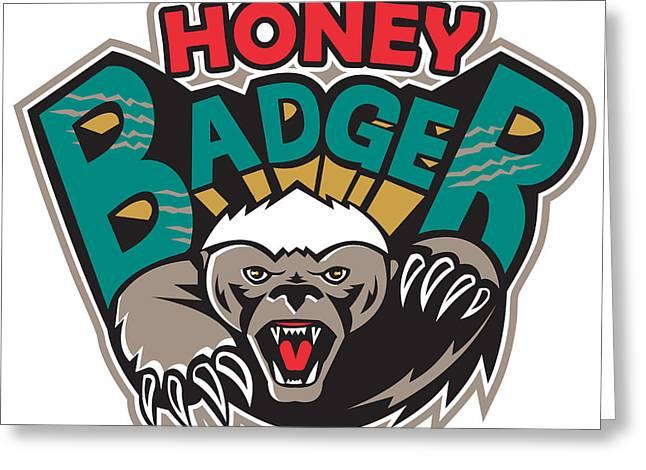 Honey Badger Mascot Front Greeting Card