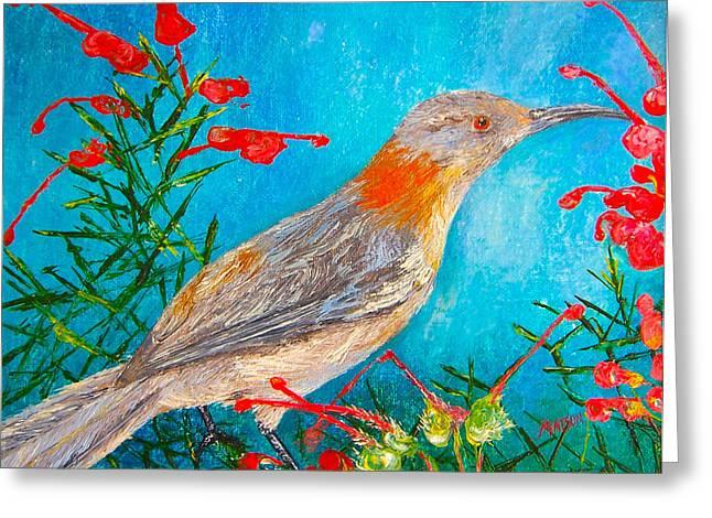 Honeyeater Bird Greeting Card by Jan Matson