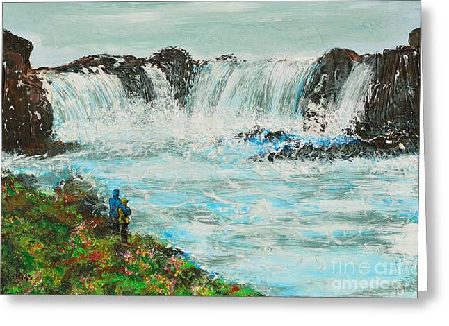 Honeymoon At Godafoss Greeting Card by Alys Caviness-Gober