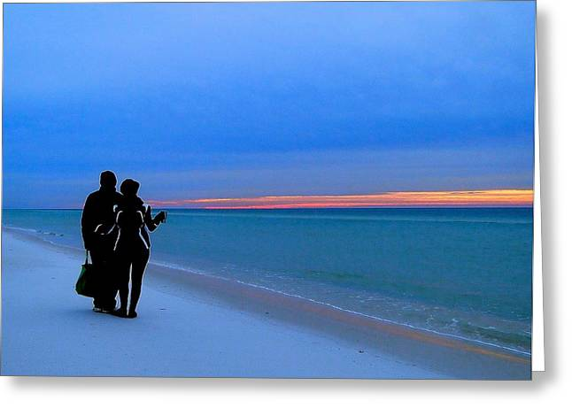 Honeymooners At Dawn On Pensacola Beach Greeting Card by Cindy Croal